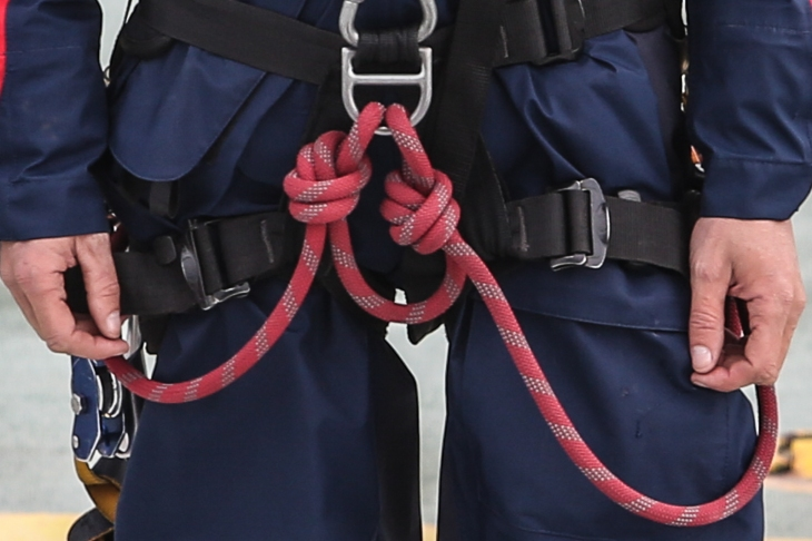 Two lanyards tied from one 12ft length of dynamic line. The point isolated between the lanyards creates a loop that serves as another point of connection.